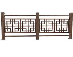 3D model realtime Low poly oriental wood fence