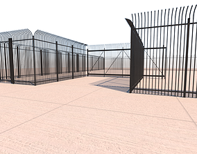 Security Fence And Rolling Gate 3D