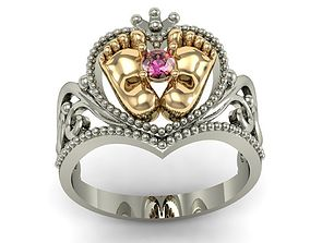 beautyful ring with baby legs 3D print model