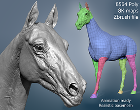 3D Realistic Horse Basemesh with LOD s