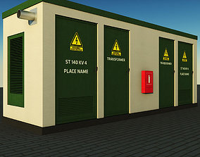 Transformer electric power station 3D asset