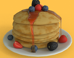 Pancakes with fruits 3D model low-poly