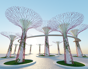 Gardens by the Bay Singapore supertrees 3D model