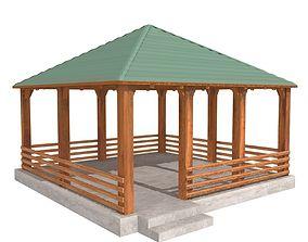 3D model Wooden Shelter 04