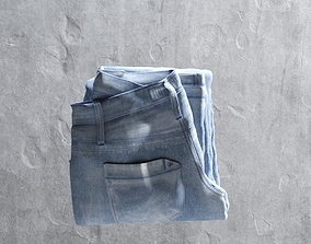 3D asset Blue Folded Jeans