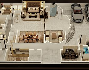 3D FLOOR PLAN OF LUXURY HOUSE GROUND FOOR