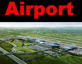 Airport with Road Infrastructure 3D