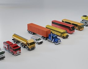 Vehicles Collection Lowpoly - 10 Items set 3D model