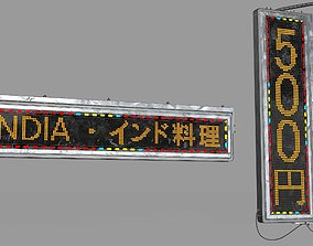Game Ready Japanese Signs Set Neon Signs Sign Led 3D model