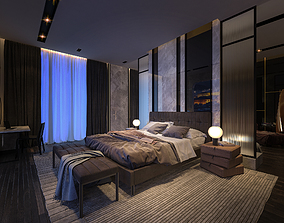 Luxury Studio Bed Room Apartment 3Ds Max and Vray Scene