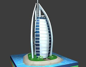 3D asset Burj Al Arab Hotel lowpoly