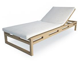 Kontiki Wooden Outdoor Long chair 1 3D model