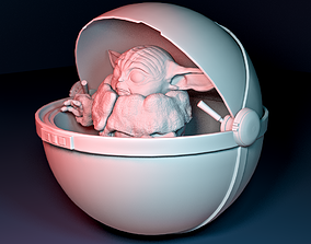 Baby Yoda with a double openable ball 3D printable model
