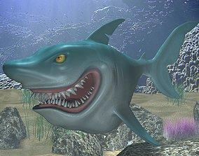 3D asset VR / AR ready Cartoon Shark Rigged