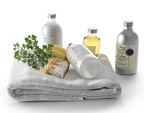 3D Lin Collection With Soap Parsley Branch and Towel
