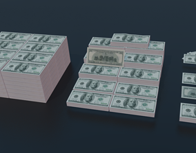3D model Low Poly 100 USD Money Stack 3 TYPES Rack