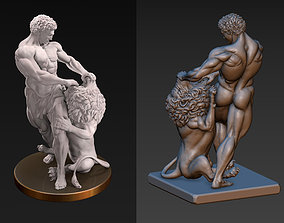 Samson and Lion Sculpture 3D printable model