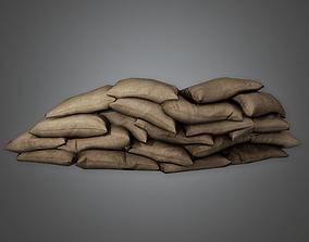 Military Sandbag Stack 02 - MLT - PBR Game Ready 3D asset