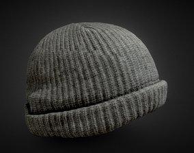 grey wool cap 3D asset