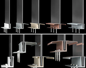 3D model High-tech style glass handrails