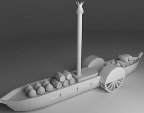 3D asset steamboat low-poly