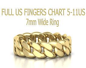 3D print model Cuban Link Chain Ring 7mm FULL US FINGERS 2