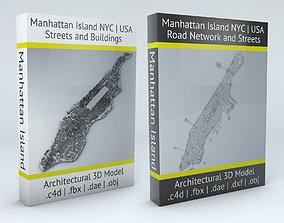 3D Manhattan Island New York City Streets Buildings Road