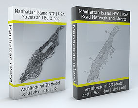 3D Manhattan Island New York City Streets Buildings Road