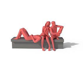Low Poly People Sit 2 3D model