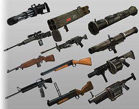 3D asset PACK Low-poly 12 weapons