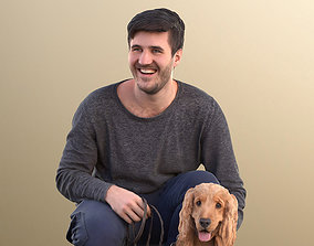 3D model Sean Teddy 10791 - Casual Man With His Dog
