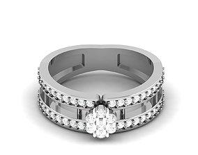 diamond solitaire Women bride band ring 3dm render detail