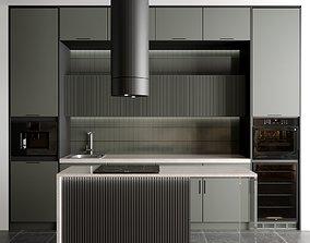 modern kitchen with 5 appliance kitchen 3D model