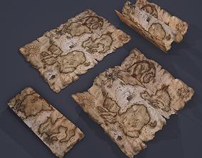 Folding Treasure Map 3D asset