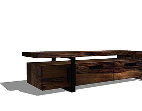 3D solid wood tv bench