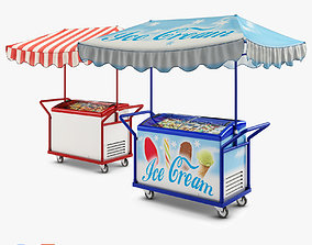 Hand Trolley with Display Freezer 3D model sweets