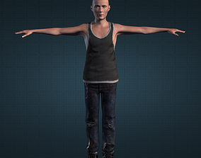 Young Male 3D Character Tank Top and worn out jeans