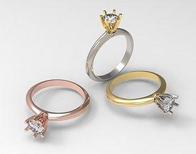 3D printable model 5mm diamond engagement ring simple nice