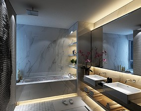 3D Bathroom with Huge Big Mirror and Small Window