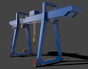 PBR Double Girder Gantry Crane V1 - Blue 3D asset
