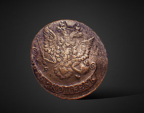 3D model Low poly Russian ancient coin 1783