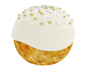 Cream puff with vanilla frosting 3D model