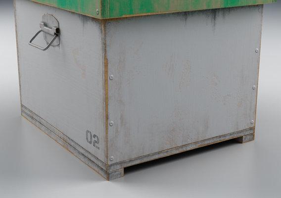 Old Wooden Box White Render