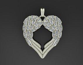 3D printable model Angel wings love pendant