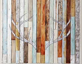 Antler Silhouette Wall Panel Wood 3D