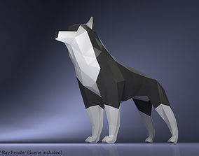 3D asset Low Poly Dog Husky