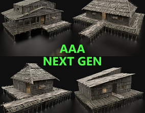 3D SWAMP HOUSE COLLECTION WETLAND HUTS PACK FANTASY