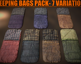 Sleeping Bags Pack - 7 Variations 3D model
