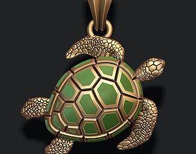 3D print model turtle pendant with enamel