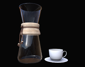 3D model low-poly Coffee Set